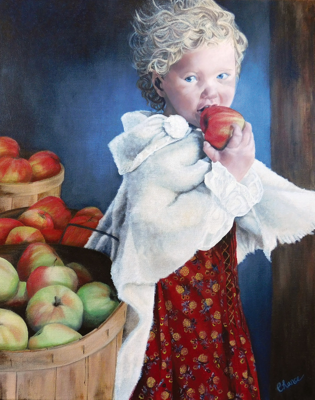 Portrait of young girl with apples, painting