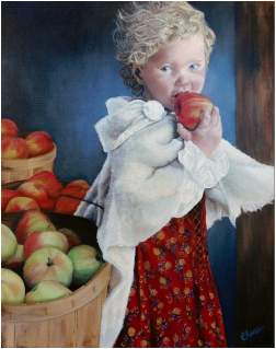 painting of young girl and apples
